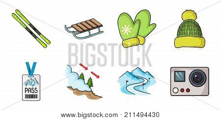 Ski resort and equipment icons in set collection for design. Entertainment and recreation vector symbol stock  illustration.