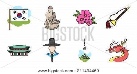 Country South Korea icons in set collection for design.Travel and attraction vector symbol stock  illustration.