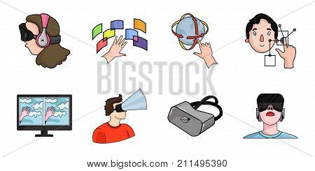 A virtual reality icons in set collection for design. Modern technology and equipment vector symbol stock  illustration.