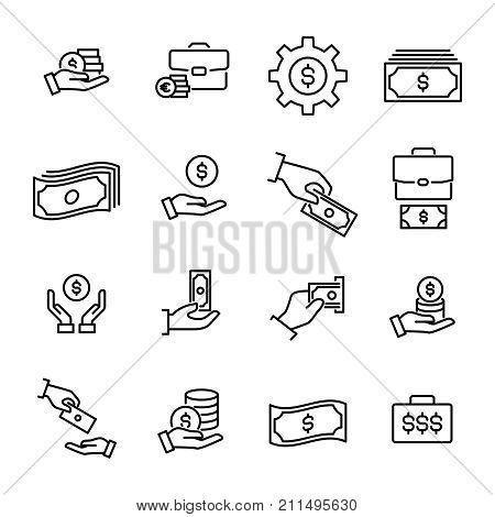 Simple set of earning related outline icons. Elements for mobile concept and web apps. Thin line vector icons for website design and development, app development. Premium pack.