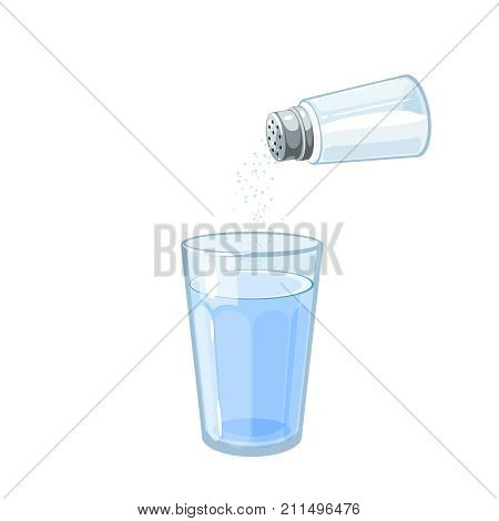 Glass of salted water for rinsing sore throat. Vector illustration cartoon flat icon isolated on white.
