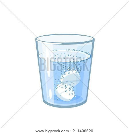 Effervescent aspirin tablets dissolve in a glass of water. Vector illustration cartoon flat icon isolated on white.