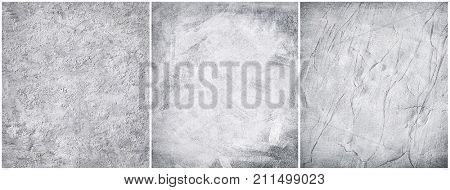 Set grey concrete texture. Cement stucco wall background.
