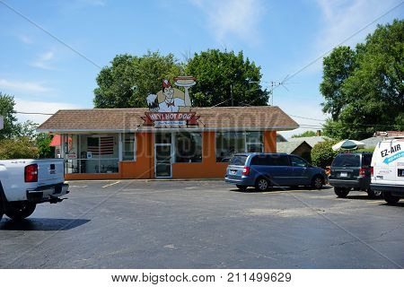JOLIET, ILLINOIS / UNITED STATES - JULY 25, 2017: Hey! Hot Dog offers great food and root beer in Joliet.