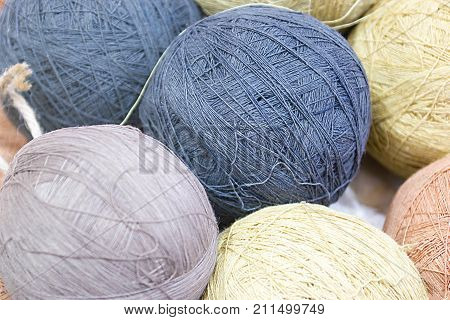 Balls Of Yarn In Basket Selective Focus