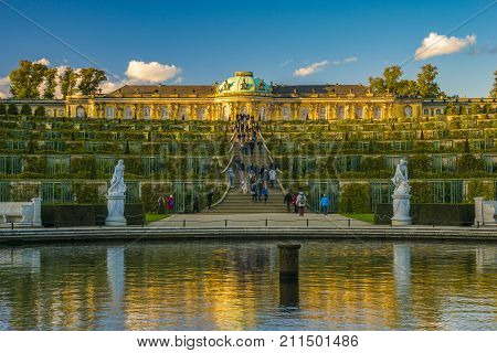 Potsdam,Germany-October 2017:Sanssouci Palace in Potsdam,castle in sanssouci park Potsdam Germany