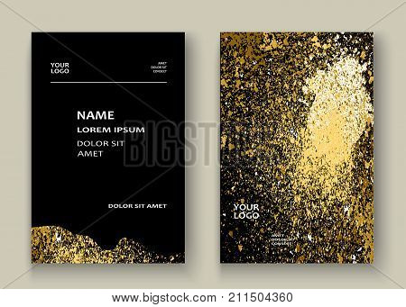 Neon Gold Explosion Paint Splatter Artistic Cover Frame Design. Decorative Xmas Splash Spray Texture