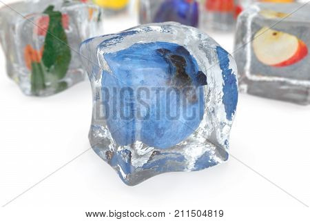 Blueberry in ice cube isolated on white with depth of field effects. Ice cubes with fresh berries. Berries fruits frozen in ice cubes. 3D rendering