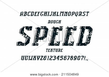 Decorative italic serif font in the sport style. Letters and numbers with rough texture for logo and title design. Print on white background