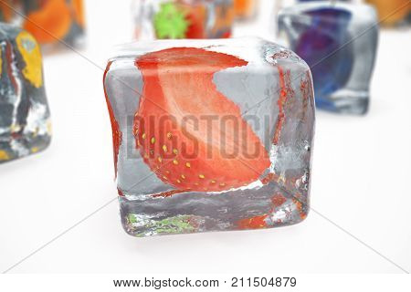Strawberry in ice cube isolated on white with depth of field effects. Ice cubes with fresh berries. Berries fruits frozen in ice cubes. 3D rendering