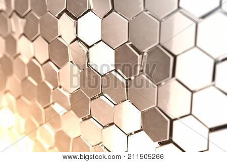 Futuristic abstract hexagonal background with depth of field effect. Structure of a large number of hexagons. Steel honeycomb wall texture, shiny hexagon clusters background. 3D rendering