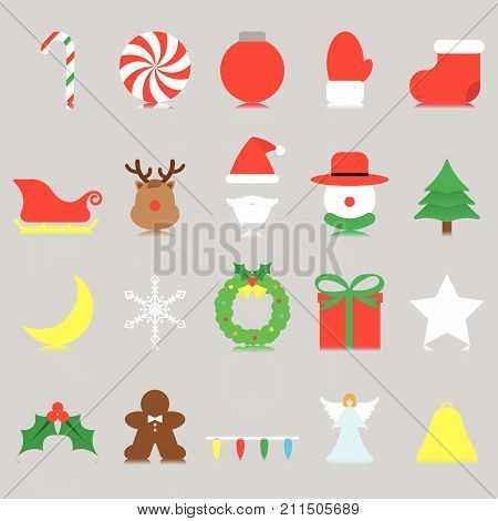 Vector Easy-To-Use 20 Colorful Merry Christmas Isolated Flat Icons And Reflection With Reindeer Santa Claus Snowman Involving In Decoration Dessert Winter Party Present Fun Character Cartoon