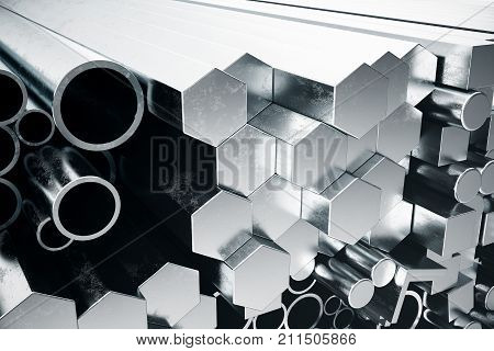 Cylindrical metal steel profiles, hexagonal metal steel profiles, square metal steel profiles. Different stainless steel products. 3D illustration