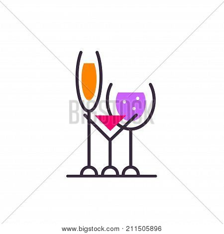 Alcoholic beverages. Logo of bar. Wine list cafe. Stock vector