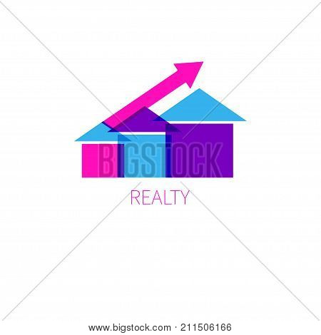 Logo real estate agency. Icon fully renovated housing. Construction firm. Extension housing. Stock vector