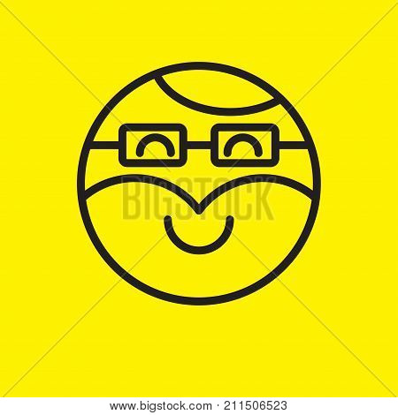 Smiley hipster. Emoji icon hipster with beard and glasses. Stock vector