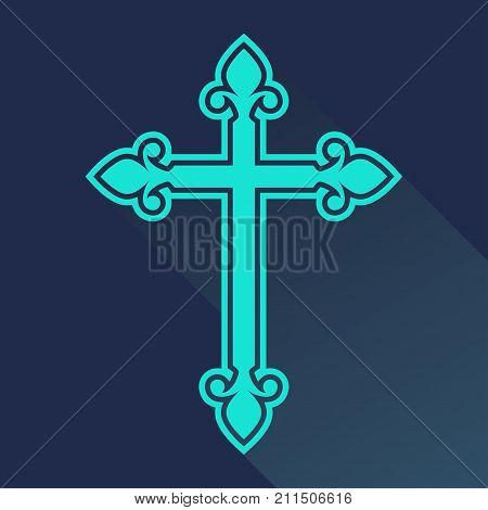 Religion cross icon in flat style. Catholicism or Christianity cross design template. Vector illustration.