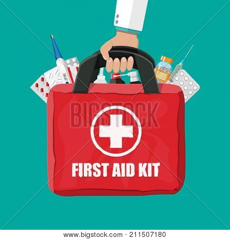 Medical first aid kit with different pills, syringe and thermometer in hand. Healthcare, hospital and medical diagnostics. Urgency and emergency services. Vector illustration in flat style
