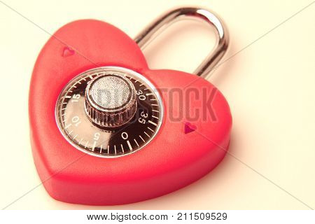 Padlock in shape of love heart