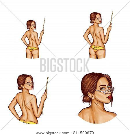Set of vector pop art round avatar icons for users of social networking, blogs, profile icons. Young pin up sexy teacher girl with brown hair and a pointer in her hand turned her naked back