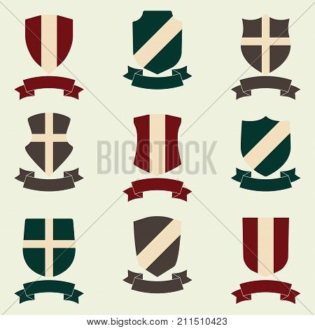 Shields with ribbon icon set. Different shield shapes collection. Heraldic royal design. Colorful vector illustration.