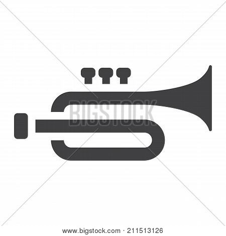 Trumpet glyph icon, music and instrument, sound sign vector graphics, a solid pattern on a white background, eps 10.