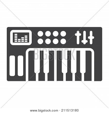 Analog synthesizer glyph icon, music and instrument, piano sign vector graphics, a solid pattern on a white background, eps 10.