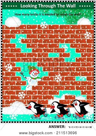 Winter, Christmas or New Year themed visual math puzzle with holes in red brick wall: How many bricks it is needed to repair the wall? Answer included.