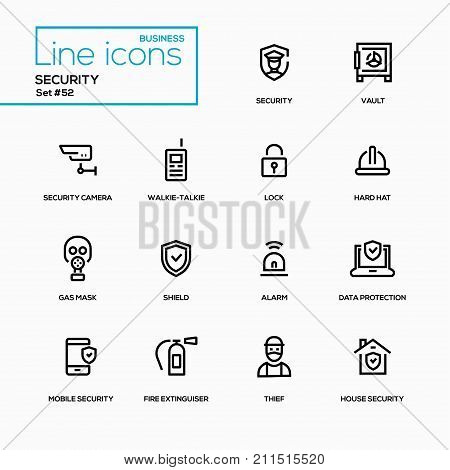 Business concept, security - line design icons set. Camera, vault, walkie-talkie, lock, hard hat, gas mask, shield, alarm, data protection, mobile, fire extinguisher, thief, house security poster