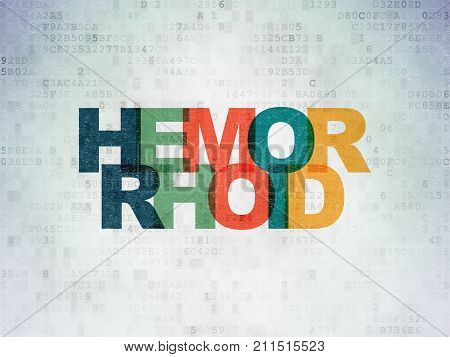 Health concept: Painted multicolor text Hemorrhoid on Digital Data Paper background