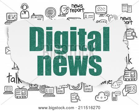 News concept: Painted green text Digital News on Torn Paper background with  Hand Drawn News Icons