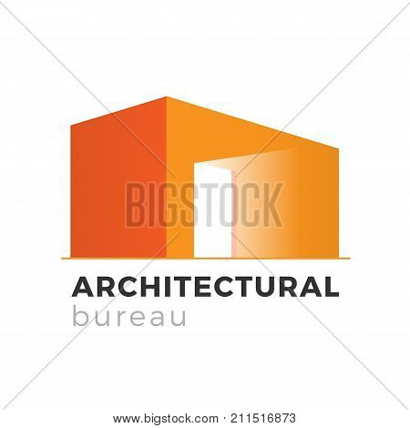 Architecture, realty or construction company logo design concept. Architectural bureau vector illustration. Building in perspective isolated on white background. Suitable for real estate business.
