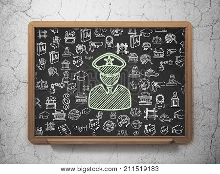 Law concept: Chalk Green Police icon on School board background with  Hand Drawn Law Icons, 3D Rendering