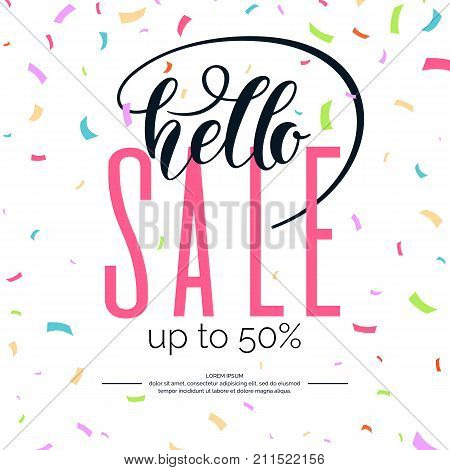 Hello sale banner. Original poster for discount. Bright abstract background with text. Vector illustration.