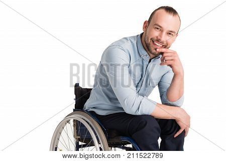 Smiling Disabled Man In Wheelchair