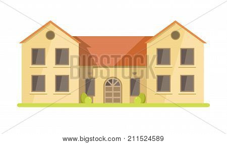 Cute cottage brick house with small balcony, spacious attic, large windows, veranda on side, chimney pipe and green lawn with tall trees isolated cartoon flat vector illustration on white background.
