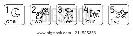 Education card set for learning counting from 1 to 5. Childrens vector illustration