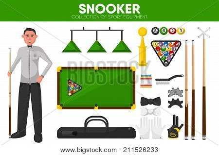 Snooker or billiards sport equipment and pool player accessories and garment uniform accessories. Vector isolated flat icons set of snooker cue and balls triangle on table and championship winner cup