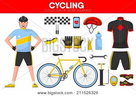 Cycling races sport equipment and bicycle racer man accessories and racing garment uniform accessories. Vector isolated flat icons set of wheel pump, safety helmet or glasses and finish flag