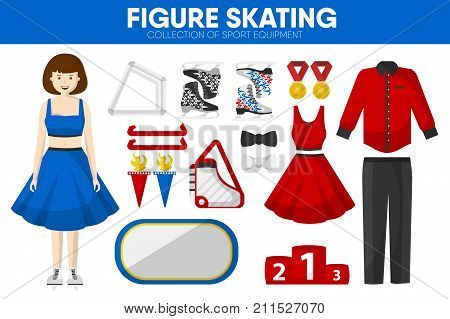 Figure skating sport equipment and skater woman clothing garment and performance uniform accessories. Skates and dress or suit, skating rink and winner golden awards at pedestal. Vector isolated icons set