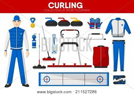 Curling sport equipment and game player man clothing garment uniform accessories. Curling stone rocks and broom and shoes for playing ice sheet. Vector isolated flat icons set