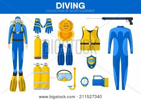 Scuba diving sport equipment and snorkeling diver garment clothing accessories. Diving wetsuit, flippers and mask, oxygen aqualung and safety jacket or snorkel. Vector isolated flat icons