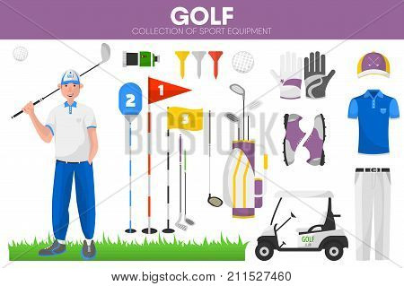 Golf sport equipment and golfer player man clothing garment or uniform accessories. Golf ball and club in caddy bag at playing course or tee hole, gloves and electric car. Vector isolated icons set