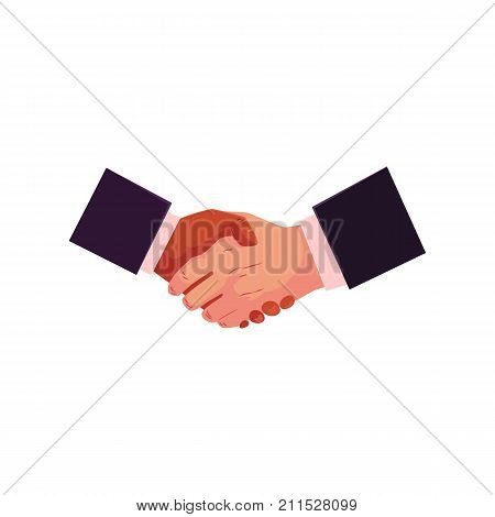 Handshake, Caucasian and African American businessmen shaking hands, making a deal, cartoon vector illustration on white background. Cartoon style handshake, hand shake gesture, icon