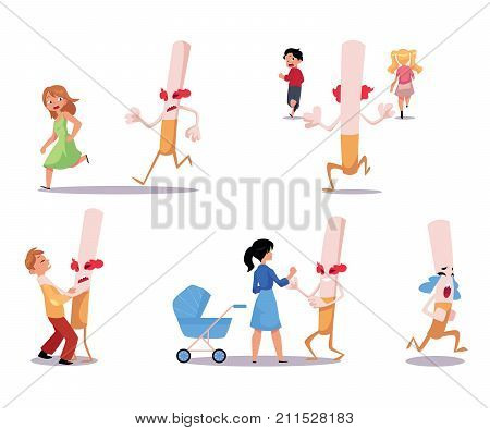Huge cigarette chasing, suffocating kids and running away with tears, fighting mom, cartoon vector illustration isolated on white background. People and cigarette character, kids versus smoking