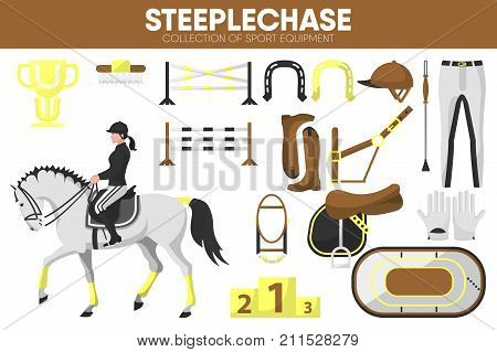 Steeplechase sport equipment and horse jump racing rider clothing garment or uniform accessories. Horse racer trotter on racecourse arena with obstacles and golden horseshoe. Vector isolated icons set