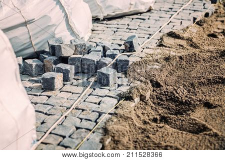Road Pavement Details. Stone Granite Blocks Install Details. Cobblestone Rocks Placement On Sidewalk