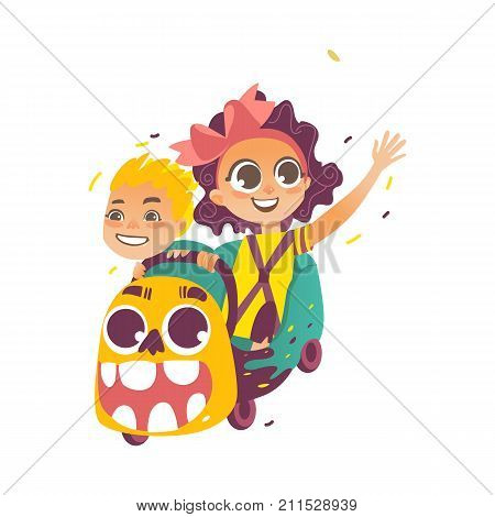 vector flat hand drawn children in amusement park concept. Boy and girl on a thrilling roller coaster ride image. Isolated illustration on a white background.