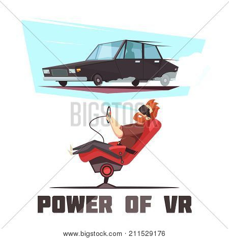 Virtual reality automated car driving experience simulator cartoon composition poster with power of VR lettering vector illustration