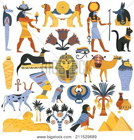 Set of ancient egyptian religion elements including gods, eye of ra, mummy, sphinx, scarab isolated vector illustration